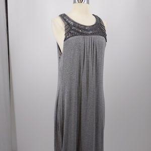 Mossimo gray lined knit w bead band dress-sz XL